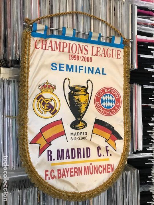 BANDERÍN CHAMPIONS LEAGUE SEMIFINAL 1999 2000 REAL MADRID CLUB DE FUTBOL BAYERN (Coleccionismo Deportivo - Banderas y Banderines de Fútbol)
