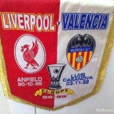 Coleccionismo deportivo: BANDERÍN COPA UEFA 98-99 PARTIDO LIVERPOOL VALENCIA CLUB DE FÚTBOL. ANFIELD 20.10.98. Lote 131095404