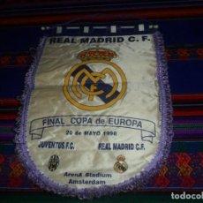 Coleccionismo deportivo: BANDERÍN REAL MADRID JUVENTUS TURÍN FINAL COPA DE EUROPA 1998 AMSTERDAM. 29X38 CMS. MUY RARO.. Lote 132303770