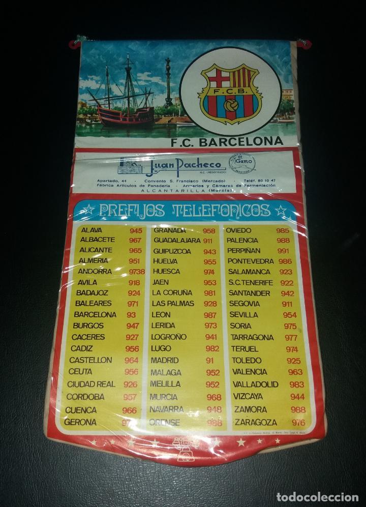 BANDERÍN PREFIJOS TELEFÓNICOS. F.C. BARCELONA, PUBLICIDAD JUAN PACHECO DE ALCANTARILLA (MURCIA), 70S (Coleccionismo Deportivo - Banderas y Banderines de Fútbol)