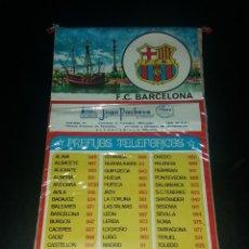 Coleccionismo deportivo: BANDERÍN PREFIJOS TELEFÓNICOS. F.C. BARCELONA, PUBLICIDAD JUAN PACHECO DE ALCANTARILLA (MURCIA), 70S. Lote 140605450