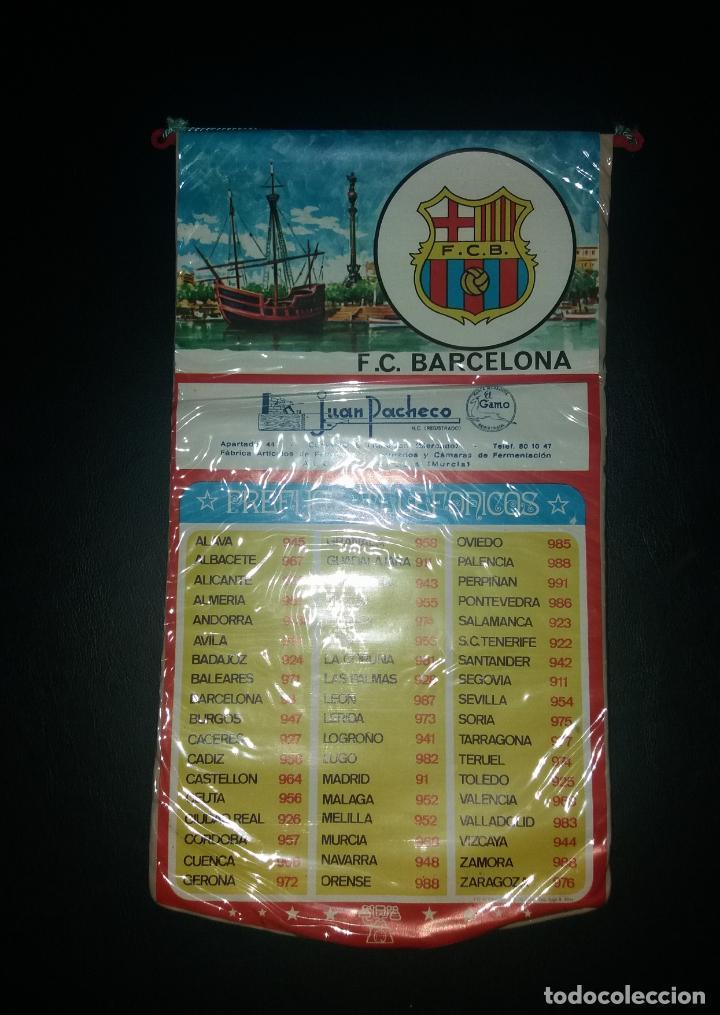 Coleccionismo deportivo: Banderín prefijos telefónicos. F.C. Barcelona, publicidad Juan Pacheco de Alcantarilla (Murcia), 70s - Foto 2 - 140605450
