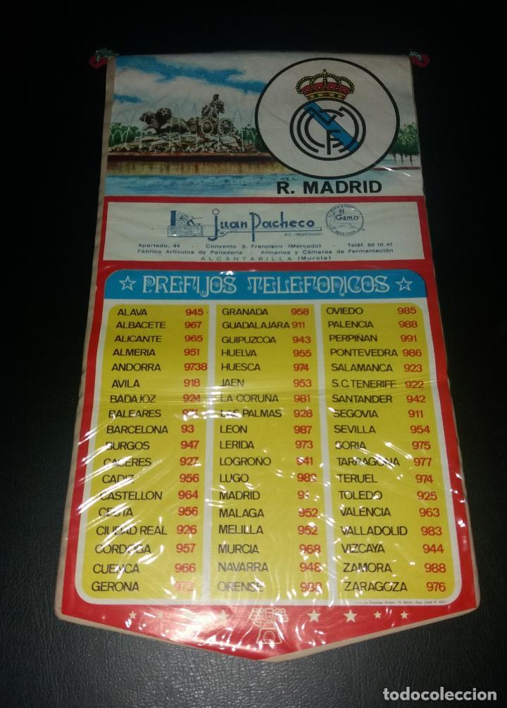BANDERÍN PREFIJOS TELEFÓNICOS. REAL MADRID, PUBLICIDAD JUAN PACHECO DE ALCANTARILLA (MURCIA), 70S (Coleccionismo Deportivo - Banderas y Banderines de Fútbol)