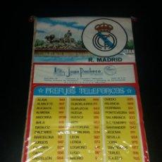 Coleccionismo deportivo: BANDERÍN PREFIJOS TELEFÓNICOS. REAL MADRID, PUBLICIDAD JUAN PACHECO DE ALCANTARILLA (MURCIA), 70S. Lote 140620274