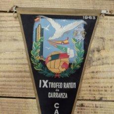 Coleccionismo deportivo: BANDERIN IX TROFEO RAMON DE CARRANZA. CADIZ 1963, 27 CMS. Lote 144218450