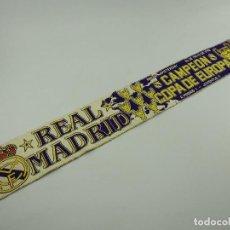 Coleccionismo deportivo: PRECIOSA BUFANDA REAL MADRID CLUB DE FUTBOL CAMPEON DE COPA DE EUROPA AMSTERDAM AÑO 1998. Lote 146235962