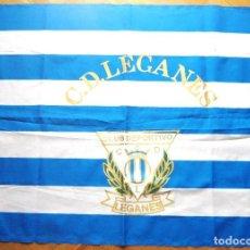 Coleccionismo deportivo: BANDERA FLAG CD LEGANES MADRID GRANDE 107X81 ANTIGUA COMO NUEVA VERY OLD DRAPEAU. Lote 150081794