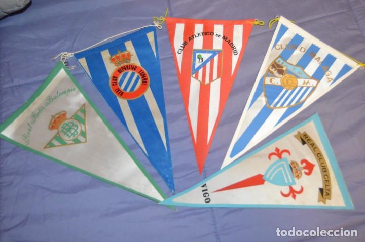 VINTAGE - LOTE DE 5 BANDERINES DE FÚTBOL - ANTIGUOS - VARIADOS - MIRA LAS FOTOS - ENVÍO 24H (Coleccionismo Deportivo - Banderas y Banderines de Fútbol)