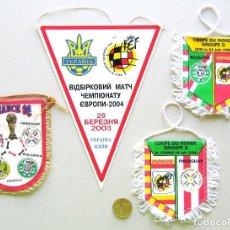 Coleccionismo deportivo: 4 BANDERIN PENNANT WIMPEL PARTIDOS FEF FEDERACION ESPAÑA FUTBOL FRANCE 98 ETC L/1. Lote 150231914