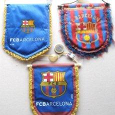 Collezionismo sportivo: 3 BANDERIN PENNANT WIMPEL FC BARCELONA MODELO COCHE - PEQUEÑO 2 OFICIALES L/4. Lote 150232858