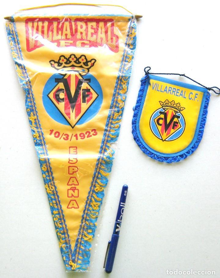 2 BANDERIN PENNANT WIMPEL VILLARREAL CF GRANDE Y PEQUEÑO CALIDAD L / 20 (Coleccionismo Deportivo - Banderas y Banderines de Fútbol)
