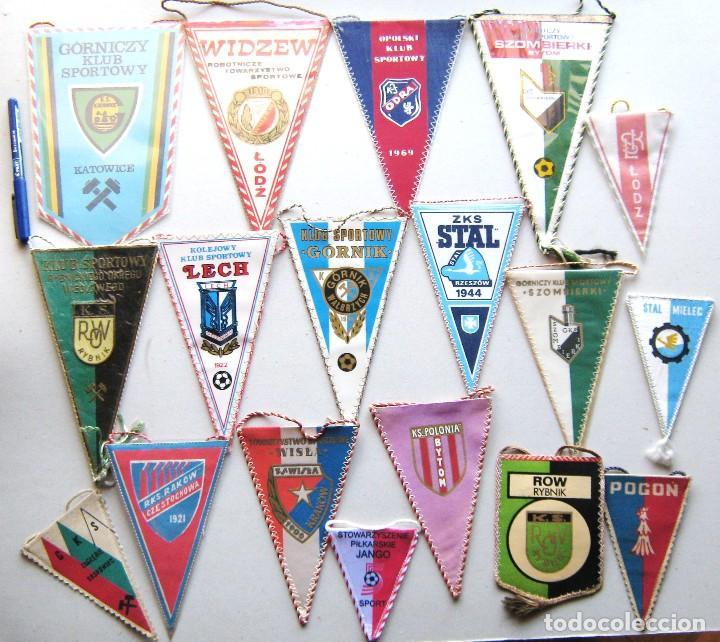 18 BANDERIN PENNANT POLONIA POLSKA POLAND DIFERENTS TEAMS FOOTBALL WIMPEL L/58 (Coleccionismo Deportivo - Banderas y Banderines de Fútbol)