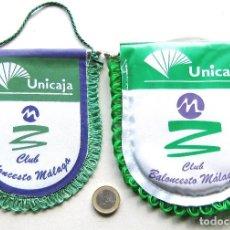 Coleccionismo deportivo: 2 BANDERIN PENNANT UNICAJA MALAGA EX MAYORAL ANDALUCIA BALONCESTO OFICIAL L73. Lote 287544443