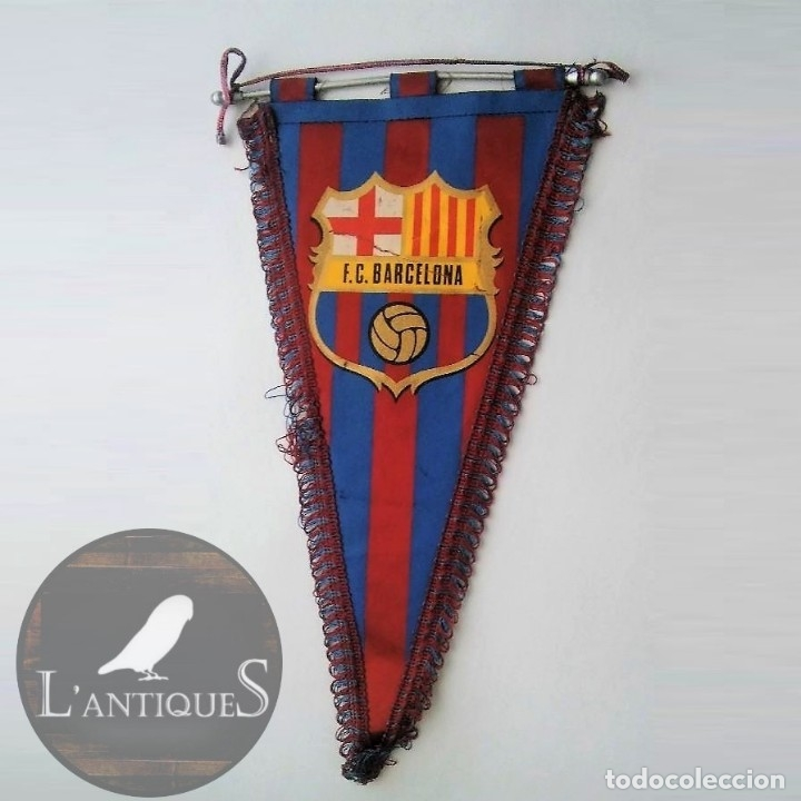BANDERÍN CON RIBETE DEL BARÇA F C B (FUTBOL CLUB BARCELONA), CON VARILLA DE ALUMINIO, ANTIGUO (Coleccionismo Deportivo - Banderas y Banderines de Fútbol)