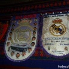 Coleccionismo deportivo: BANDERÍN REAL MADRID FINAL COPA EUROPA 1998 JUVENTUS Y TEMPORADA 95 96. REGALO BANDERÍN ESPAÑA. BE.. Lote 152852722