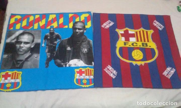 BANDERAS FLAGS ANTIGUAS DE RONALDO NAZARIO Y DEL FUTBOL CLUB BARCELONA (Coleccionismo Deportivo - Banderas y Banderines de Fútbol)