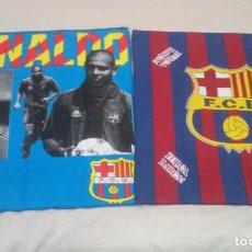 Coleccionismo deportivo: BANDERAS FLAGS ANTIGUAS DE RONALDO NAZARIO Y DEL FUTBOL CLUB BARCELONA. Lote 153260206