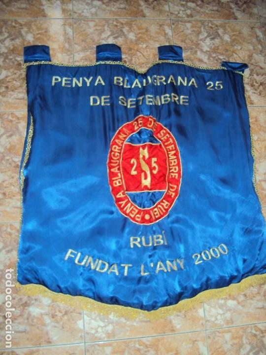 Coleccionismo deportivo: (F-190303)BANDERA ESTANDARTE BORDADO PENYA BLAUGRANA 25 DE SETEMBRE DE RUBI - Foto 2 - 154108958