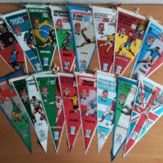 Coleccionismo deportivo: 16 BANDERINES MUNDIAL FÚTBOL INGLATERRA 1966 PUBLICIDAD GIOR GRANOLLERS SOCCER ENGLAND WORLD CUP. Lote 158317942