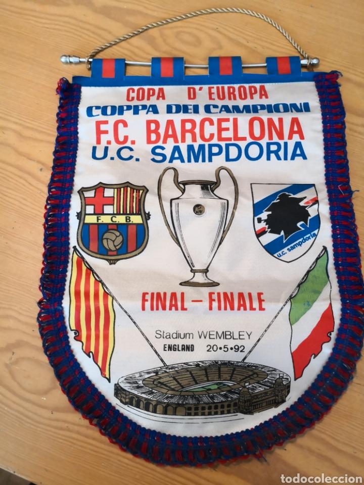 BANDERIN FINAL WEMBLEY BARCELONA SAMPDORIA 1992 (Coleccionismo Deportivo - Banderas y Banderines de Fútbol)