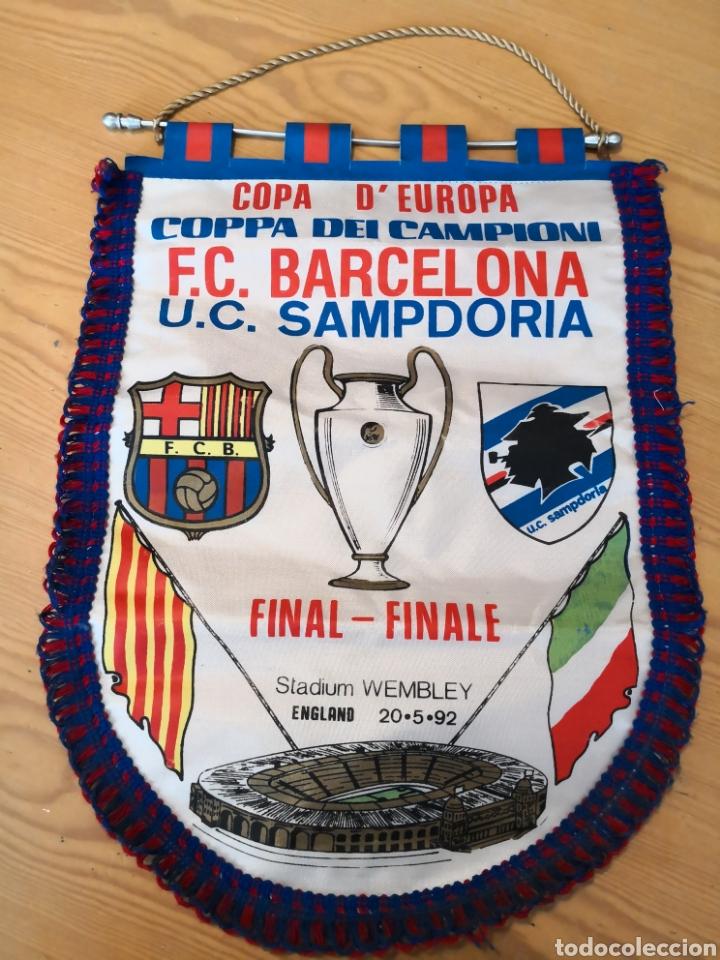 Coleccionismo deportivo: Banderin final wembley Barcelona sampdoria 1992 - Foto 2 - 161662790