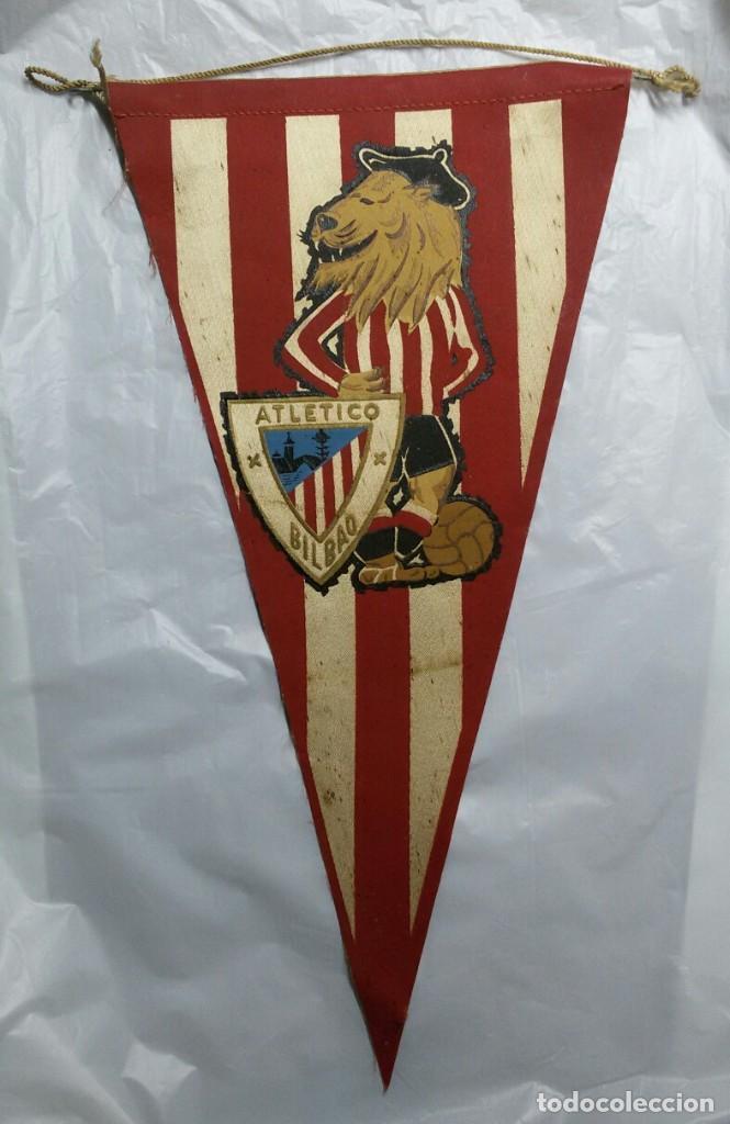 ANTIGUO BANDERÍN DE FUTBOL EMBLEMA ATLETICO DE BILBAO (ATHLETIC BILBAO) LEONES (Coleccionismo Deportivo - Banderas y Banderines de Fútbol)
