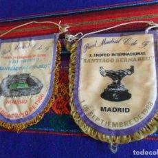 Coleccionismo deportivo: BANDERÍN REAL MADRID VIII Y X TROFEO SANTIAGO BERNABÉU 1986 Y 1988. MUY RAROS.. Lote 167493496
