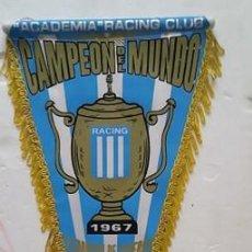 Coleccionismo deportivo: BANDERIN RACING CLUB CAMPEON DEL MUNDO 1967 ARGENTINA. Lote 295856548