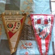 Coleccionismo deportivo: BANDERIN RAYO VALLECANO DE MADRID S.A.D + ATHLETIC CLUB BILBAO. Lote 170410120
