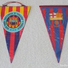 Coleccionismo deportivo: BANDERINES C.F. BARCELONA - PEÑA BARCELONISTA DE TARRAGONA Y ESCUDO C.F. BARCELONA. Lote 171436880