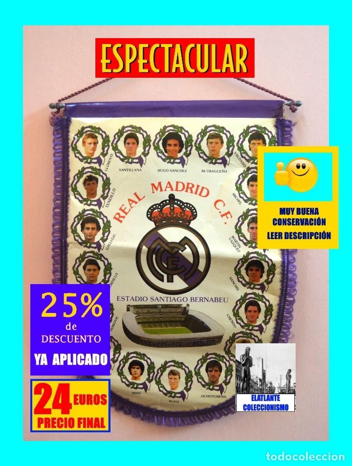Coleccionismo deportivo: BANDERIN REAL MADRID TEMPORADA 1987 - 1988 - SANTIAGO BERNABEU BUYO SANCHIS HUGO SÁNCHEZ VALDANO - Foto 3 - 173154764