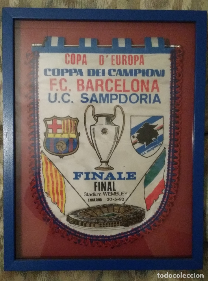 BANDERIN FINAL COPA DE EUROPA 1992 FC BARCELONA - U C SAMPDORIA (Coleccionismo Deportivo - Banderas y Banderines de Fútbol)