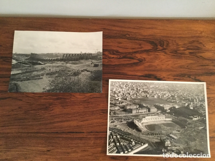 FOTOGRAFÍA PANORÁMICA Y AEREA TAE. EDIFICACIÓN DEL ESTADIO CAMP NOU DEL FÚTBOL CLUB BARCELONA - 1956 (Coleccionismo Deportivo - Banderas y Banderines de Fútbol)