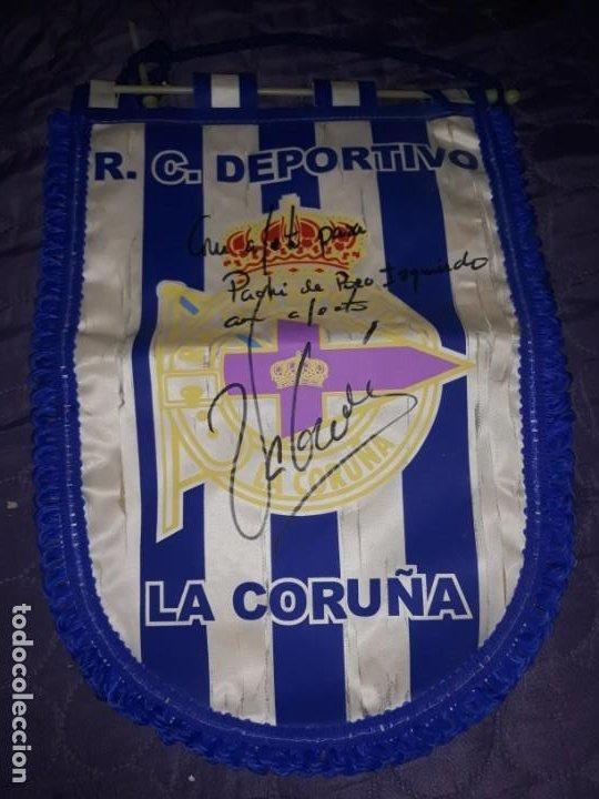 ANTIGUO BANDERÍN DE FÚTBOL DE R.C.DEPORTIVO DE LA CORUÑA CON FIRMA DE JUAN CARLOS VALERON, AÑOS 2000 (Coleccionismo Deportivo - Banderas y Banderines de Fútbol)