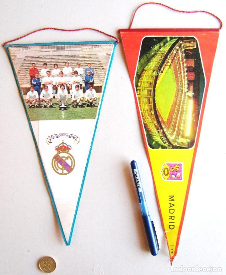 2 BANDERIN CAMPEON REAL MADRID 71-72 + ESTADIO PENNANT WIMPEL FANION 30 / 34X16 CM (Coleccionismo Deportivo - Banderas y Banderines de Fútbol)
