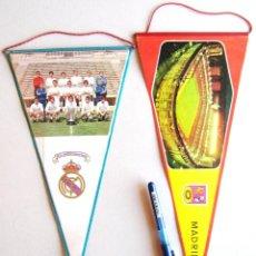 Coleccionismo deportivo: 2 BANDERIN CAMPEON REAL MADRID 71-72 + ESTADIO PENNANT WIMPEL FANION 30 / 34X16 CM. Lote 184755091