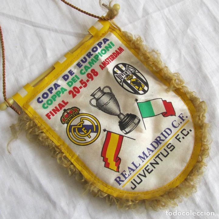 BANDERÍN REAL MADRID - JUVENTUS FINAL COPA DE EUROPA 1998 (Coleccionismo Deportivo - Banderas y Banderines de Fútbol)