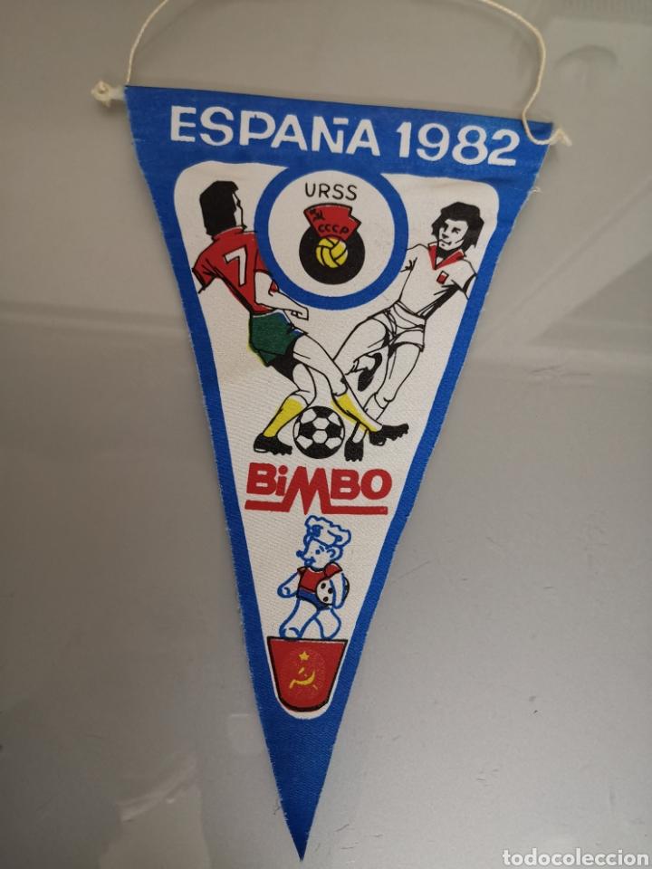 ANTIGUO BANDERIN BIMBO ESPAÑA 1982 URSS CCCP N°22 MUY DIFÍCIL (Coleccionismo Deportivo - Banderas y Banderines de Fútbol)