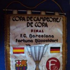 Coleccionismo deportivo: (F-200145)BANDERIN FINAL COPA BASILEA 1979 F.C.BARCELONA-FORTUNA FIRMAS ORIGINALES JUGADORES. Lote 190538443