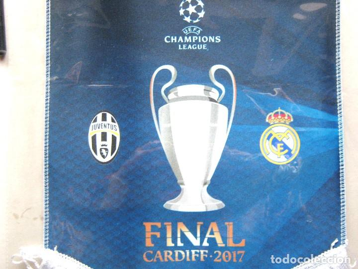 Coleccionismo deportivo: BANDERIN REAL MADRID CF Vs JUVENTUS TURIN TORINO FINAL CHAMPIONS LEAGUE 2017 OFICIAL 40x32 PENNANT R - Foto 2 - 206307563