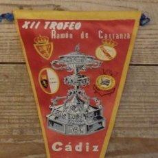 Coleccionismo deportivo: BANDERIN XII TROFEO RAMON DE CARRANZA,1966, REAL MADRID,ZARAGOZA.TORINO Y CORINTHIANS, 27 CMS. Lote 194274435
