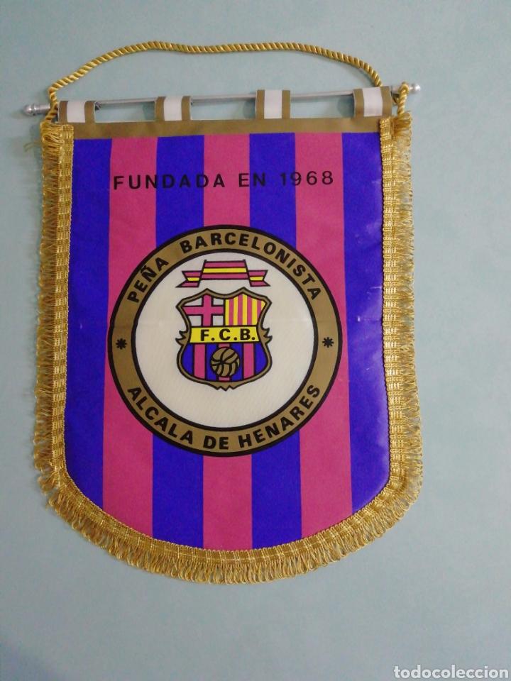BANDERIN PEÑA BARCELONISTA ALCALÁ DE HENARES (Coleccionismo Deportivo - Banderas y Banderines de Fútbol)