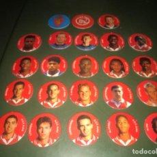 Coleccionismo deportivo: 22 TAZOS CROMOS AJAX AMSTERDAM 1 ZARAGOZA + FICHA CARA Y CRUZ FÚTBOL SUPERCOP 96 ... ZKR. Lote 200643180