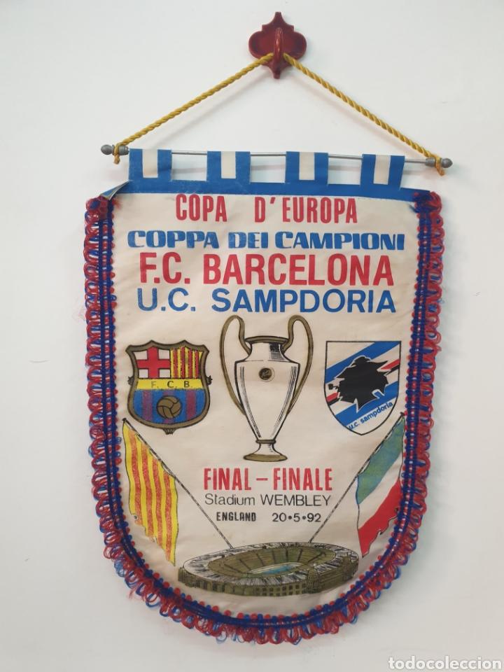 FINAL COPA DE EUROPA 92 WENBLEY STADIUM (Coleccionismo Deportivo - Banderas y Banderines de Fútbol)