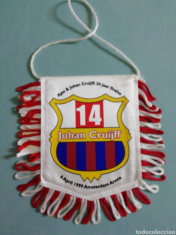 BANDERIN AJAX & JOHAN CRUIJFF DE HOLANDA (Coleccionismo Deportivo - Banderas y Banderines de Fútbol)