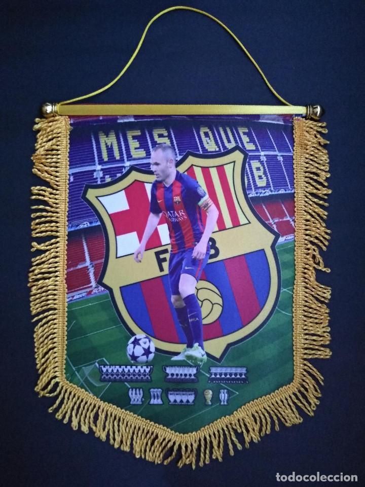 BANDERÍN INIESTA-BARCELONA (Coleccionismo Deportivo - Banderas y Banderines de Fútbol)
