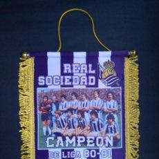 Coleccionismo deportivo: BANDERÍN REAL SOCIEDAD CAMPEÓN DE LIGA. Lote 207019370