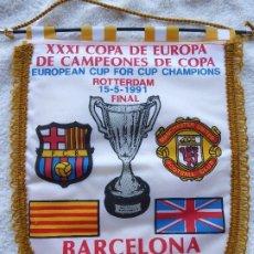 Coleccionismo deportivo: BANDERIN FC BARCELONA CON CENEFA XXXI RECOPA, ROTTERDAM 1991. BARCELONA-MANCHESTER UNITED.. Lote 210977784