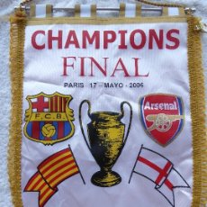 Coleccionismo deportivo: BANDERIN FC BARCELONA CON CENEFA FINAL CHAMPIONS PARIS MAYO 2006. FC BARCELONA-ARSENAL.. Lote 210978359