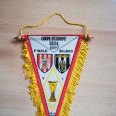 Colecionismo desportivo: BANDERÍN FINAL COPA UEFA 1977. ATHLETIC BILBAO-JUVENTUS (18/5/1977).. Lote 211799545